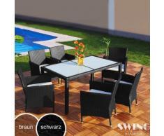 Set tavolo da pranzo polyrattan 6 persone Swing&Harmonie®