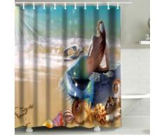 Tenda da doccia 3D Sirena & spiaggia