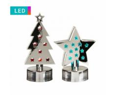 Set di 2 luci LED Stella & albero di Natale