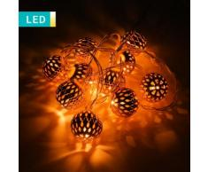 Filo di luci LED con palline di Natale rame