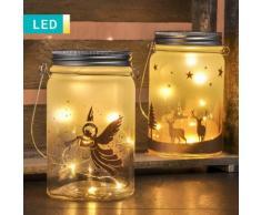 Barattolo decorativo LED con motivi natalizi