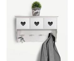 Appendiabiti a muro con cassetti a cuore