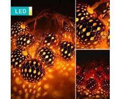 Filo di luci LED con 10 palline di Natale metallizzate