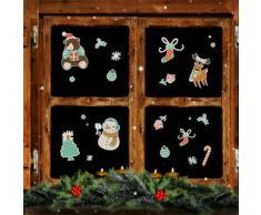 Set adesivi da finestra natalizi riutilizzabili orso & renna 30 pz.