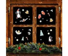 Set adesivi da finestra riutilizzabili pinguino & stelle natalizie 40 pz.
