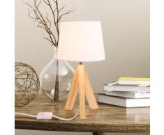 Lampada da tavolo con gambe in legno