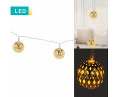 Filo di luci LED con 20 palline di Natale dorate
