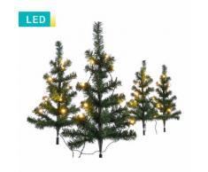 Set di 4 piccoli alberi di Natale LED