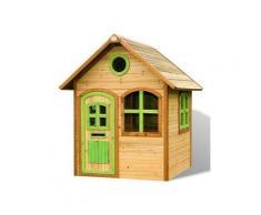 Casetta Gioco in legno con finestre e porte verdi