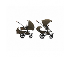Passeggino GEO EARTH II TWIN Gemellare – 2 Sedute + 2 Navicelle + Cestino XL – Joolz (Turtle Green)