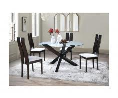 Set tavolo CENTAURI + 4 sedie SALENA - Quercia - Wengé