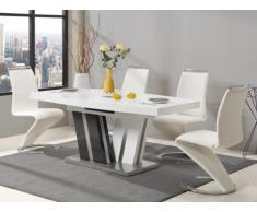 Tavolo da pranzo allungabile 6-8 posti in MDF laccato grigio e bianco - NOAMI