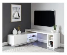 Mobile TV allungabile con LED 1 anta e 4 nicchie in MDF Bianco laccato - MALORY