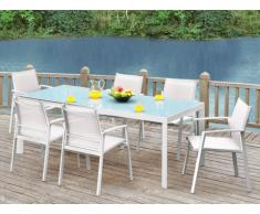Sala da pranzo da giardino PALAOS - Tavolo allungabile, 6 sedie - Bianco