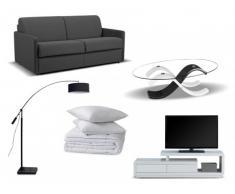 Set studio 7 articoli: divano-letto CALIFE grigio 140cm, tavolino, mobile TV, lampada, trapunta e 2 guanciali