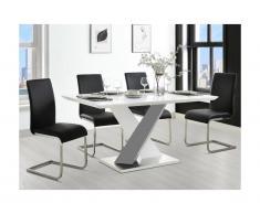 Tavolo da pranzo 6 posti MDF laccato Bianco e nero - SALVA