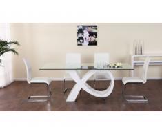 Tavolo da pranzo ETREINTE - 8 coperti - MDF e vetro temperato - Bianco