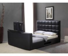 Letto PROFUSION con sistema TV integrato - 160 x 200 cm - Similpelle nera