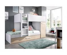 Letto a castello con cassetto letto estraibile e contenitori 3 x 90 x 190 cm Bianco e Rovere - ANTHONY