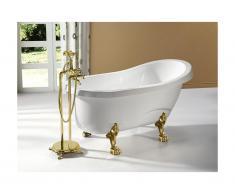 Vasca da bagno centro stanza rétro EGEE II - 171L - 145x74x77 cm - Bianco e piedi dorati
