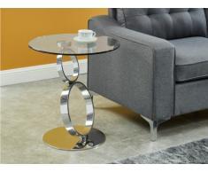 Tavolino in Vetro temperato trasparente e stelo acciaio - JOLINE