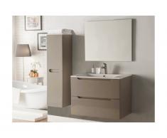 Set Mobili bagno e specchio laccato Tortora - STEFANIE