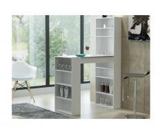 Mobile bar SKARN - Bianco & ripiano effetto granito