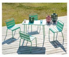 Sala da pranzo da giardino per bambini un tavolo e 4 sedie impilabili in Metallo Verde acqua - POPAYAN