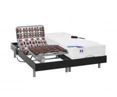 Letto elettrico relax sole sospensioni materasso molle insacchettate e memory - motori OKIN - 2 x 90 x 200 cm - Nero - PHANES di DREAMEA