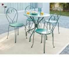 Sala da pranzo da giardino GUERMANTES in metallo effetto ferro battuto: un tavolo e 4 sedie verdi