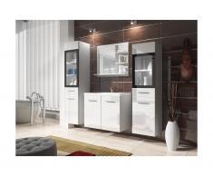 Set LAURINE a led - Mobili per bagno - Bianco e vetro temperato