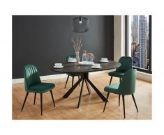 Tavolo da pranzo allungabile da 4 a 6 coperti in Ceramica e Metallo Antracite - CLARA