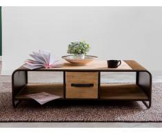 Tavolino con 2 cassetti e 2 nicchie Acacia e Metallo - CHICAGO