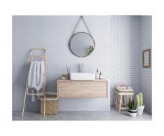 Mobili sospesi per bagno con lavabo semplice Rovere - TEANA