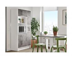 Credenza da cucina - 5 ante e 1 cassetto Bianco e Grigio - MADY