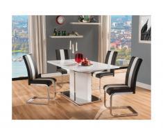 Set tavolo + 4 sedie TRINITY - Bianco e Nero