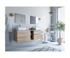 Mobili sospesi per bagno con doppio lavabo e specchi Rovere - MAGDALENA