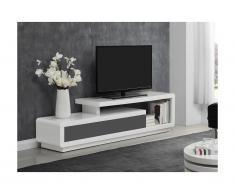 Mobile TV - 2 cassetti - MDF laccato Bianco e grigio - ARTABAN
