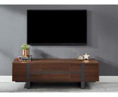 Mobile TV PETILLANTE - 3 ante - MDF e metallo - Colore: noce