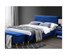 Letto matrimoniale alla francese con testiera con cuciture 140 x 190 cm in Tessuto velluto Blu - DANIELE