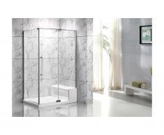Parete doccia angolare con piatto della doccia e seduta L122 x l81 x H190 cm - DELIA