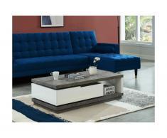 Tavolino vano portaoggetti girevole MDF bianco laccato e ripiano effetto calcestruzzo - FLAVIAN