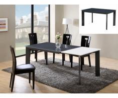 Tavolo allungabile ARIELLE - Da 6 a 8 coperti - MDF e vetro temperato - Grigio antracite e bianco