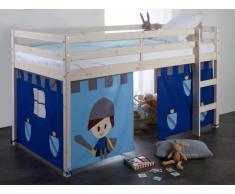 Letto mezza altezza 90 x 190 cm Tende Cavaliere Blu Abete massello - LILIO