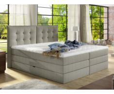Set letto boxspring con testata + base del letto con contenitore + materasso + topper PLAISIR di PALACIO - tessuto beige -160 x 200 cm