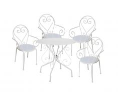 Sala da pranzo da giardino in metallo effetto ferro battuto GUERMANTES: un tavolo e 4 sedie bianche