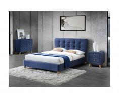 Set CAMERA Letto matrimoniale alla francese 140 x 190 cm e 2 comodini in Tessuto Blu - ELIDE