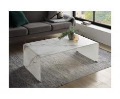 Tavolino rettangolare in Vetro temperato curvo Effetto marmo - ERNESTO