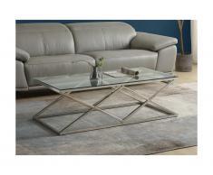 Tavolino Vetro temperato e acciaio Cromato - CHARLOTTE