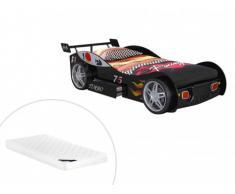 Letto auto con cassetto 90 x 200 cm Nero + materasso incluso - RUNNER